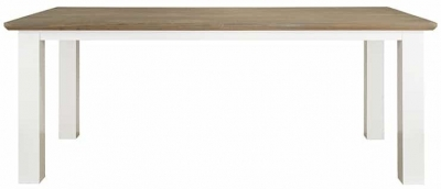 Cardiff Oak and Snow Painted Dining Table - 220cm