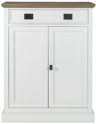 Cardiff Oak and Snow Painted 2 Door 1 Drawer Hall Cabinet