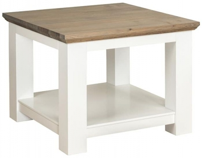Cardiff Oak and Snow Painted Side Table