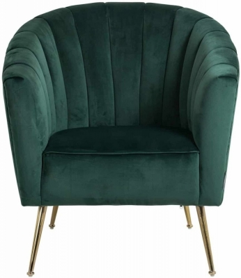 Shelly Easy Armchair - Green Velvet and Gold