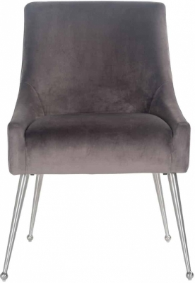 Indy Chair - Stone Velvet and Silver