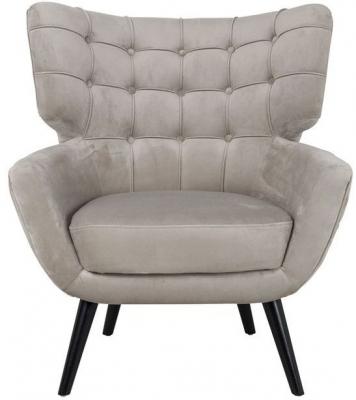 Emily Khaki Velvet and Black Fabric Easy Chair