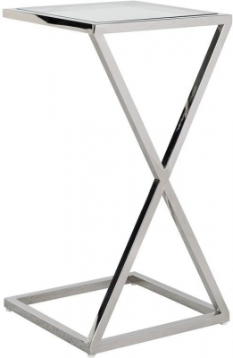 Clearance - Paramount Glass and Stainless Steel Sofa Side Table - New - E-671