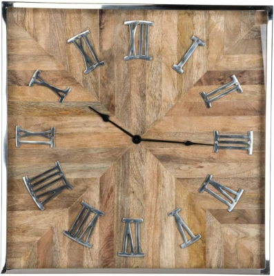Aiden Silver and Wood Square Clock