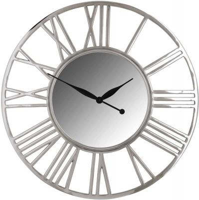 Danell Silver Round Clock
