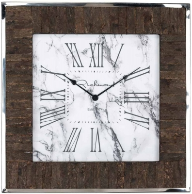 Evan Silver and Wood Square Clock