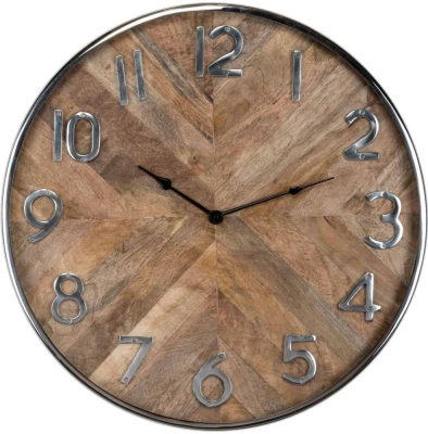 Jayden Silver and Wood Round Clock