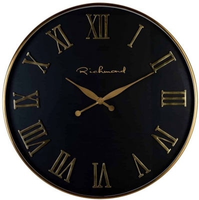 Deonne Black and Gold Round Clock
