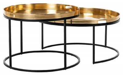 Dustin Gold and Black Round Coffee Table (Set of 2)