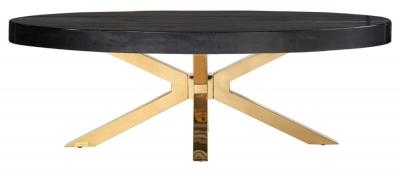 Grandis Black Oak Coffee Table with Gold Legs