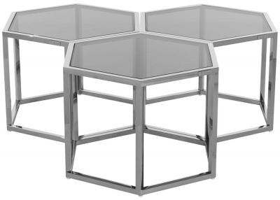Penta Hexagon Silver Coffee Table (Set of 3)