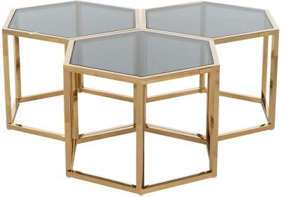 Penta Hexagon Gold Coffee Table (Set of 3)