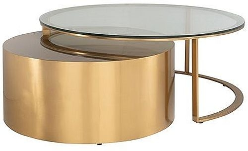 Orlan Glass and Gold Coffee Table (Set of 2)
