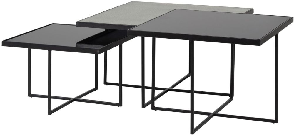 Chester Silver Glass and Black Square Coffee Table (Set of 3)