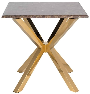Conrad Brown Marble and Gold Side Table