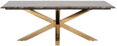 Conrad Brown Marble and Gold Coffee Table