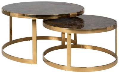 Conrad Brown Marble and Gold Round Coffee Table (Set of 2)