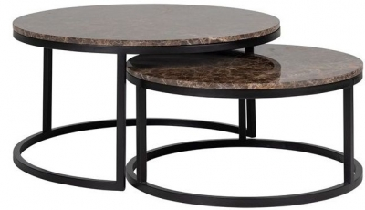 Dalton Brown Emperador Marble Coffee Table (Set of 2)