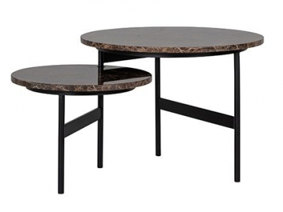 Dalton Brown Emperador Marble Reversible Coffee Table (Set of 2)