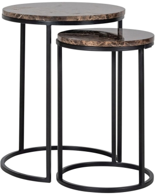 Dalton Brown Emperador Marble Round Corner Table (Set of 2)