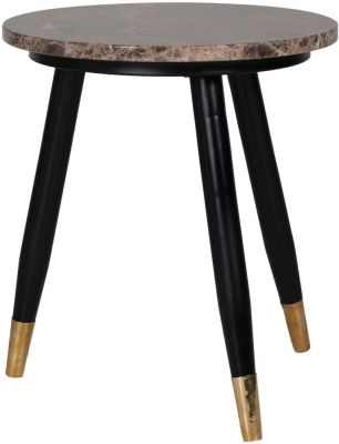 Dalton Brown Emperador Marble Round Corner Table