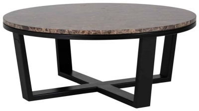 Dalton Brown Emperador Marble Round Coffee Table