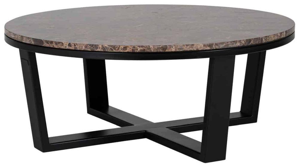 Dalton Brown Emperador Marble Round Coffee Table