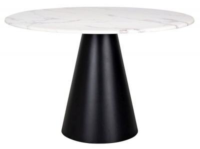 Degas 120cm White Faux Marble Dining Table