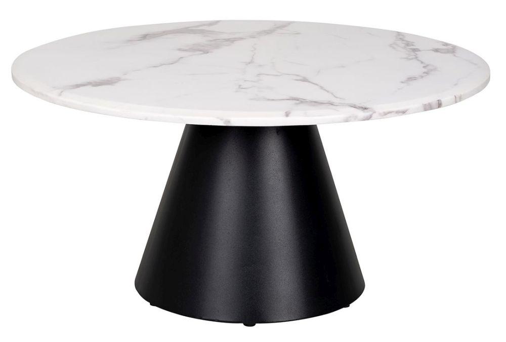 Degas White Faux Marble Coffee Table
