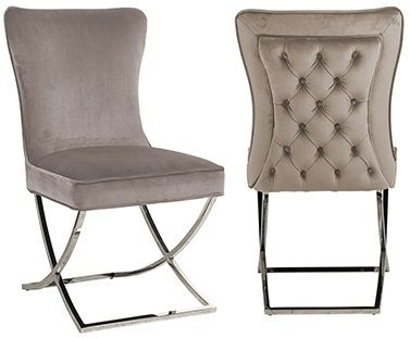 Chelsea Khaki Velvet and Silver Dining Chair (Pair)