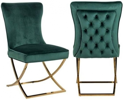 Chelsea Green Velvet and Gold Dining Chair (Pair)