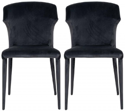 Piper Antraciet Velvet Dining Chair (Pair)