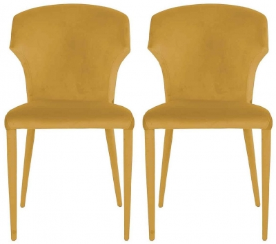 Piper Ochre Velvet Dining Chair (Pair)