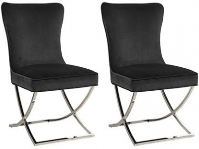 Chelsea Black and Silver Fabric Dining Chair (Pair)
