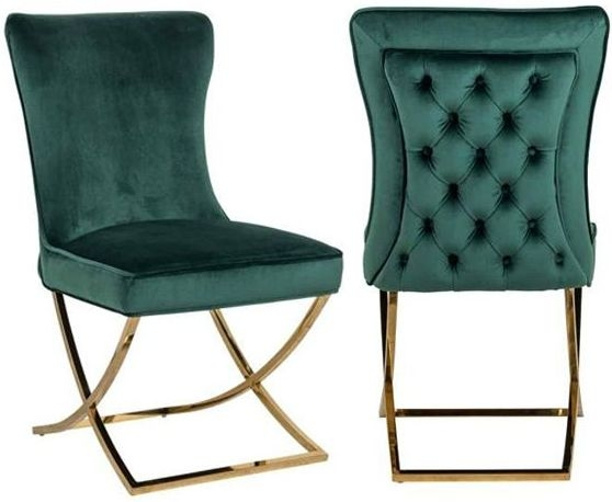 Chelsea Green Velvet and Gold Dining Chair (Pair)