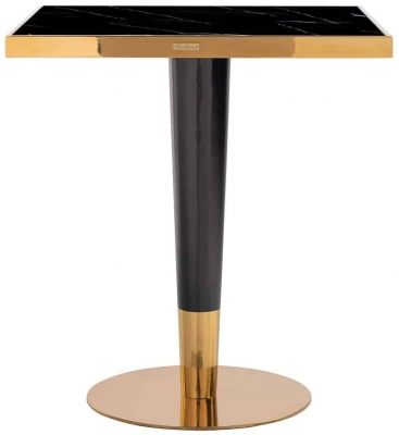 Can Roca Black Glass and Gold Square Dining Table - 70cm x 70cm