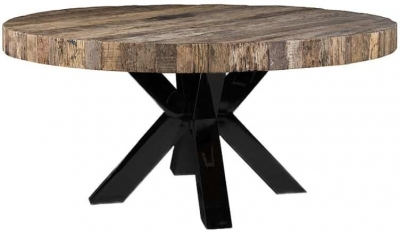 Bodhi Round Dining Table with Black Cross Double Legs - 160cm