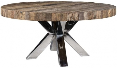 Bodhi Round Dining Table with Silver Cross Double Legs - 160cm