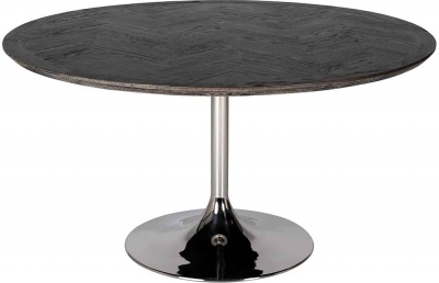 Blackbone Oak Round Dining Table with Silver Base - 140cm