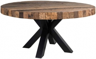 Bodcaw Round Dining Table with Double Cross Black Legs