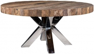 Bodcaw Round Dining Table with Double Cross Silver Legs