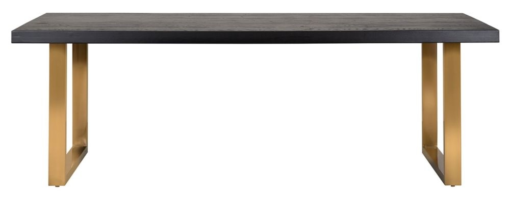 Watson Black Oak Dining Table with Brushed Gold Legs