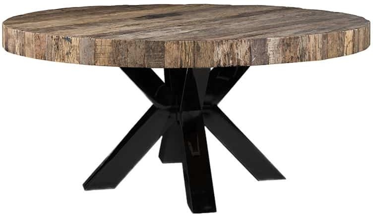 Bodhi Top 160cm Round Dining Table with Black Cross Double Legs