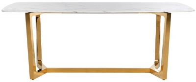 Dynasty White Marble and Gold Dining Table - 200cm