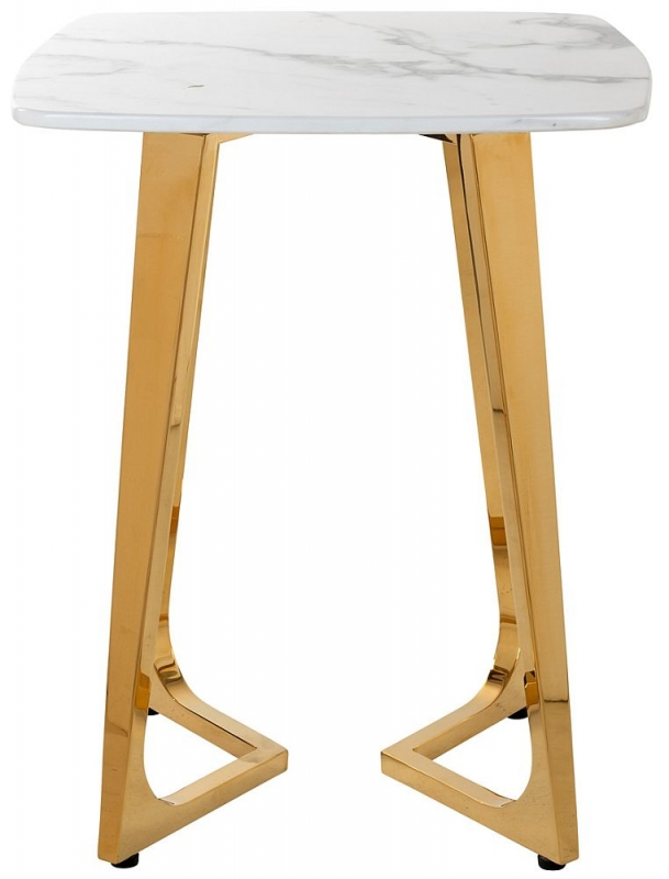 Dynasty White Marble and Gold Side Table