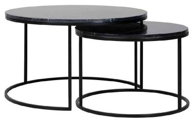 Fairmont Black Marino Marble Round Coffee Table (Set of 2)