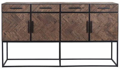 Herringbone Old Oak 4 Door 4 Drawer Sideboard