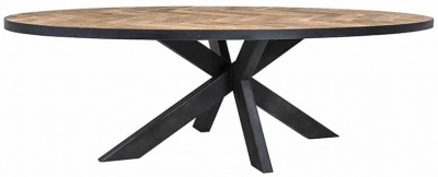 Herringbone Old Oak Oval Dining Table - 255cm