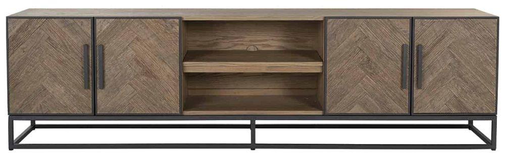 Herringbone Old Oak Oak 4 Door TV Unit