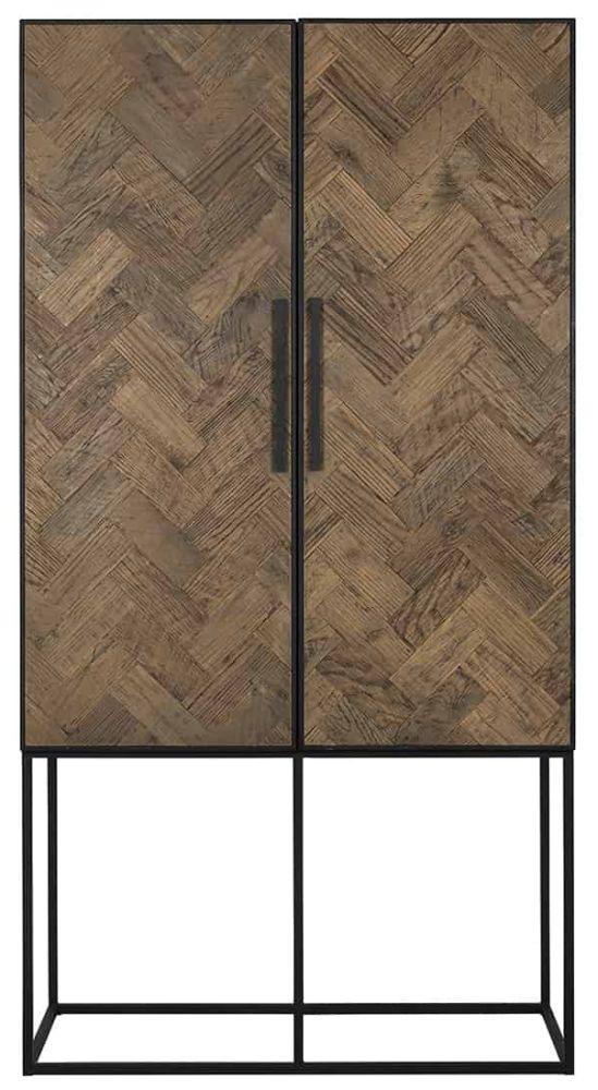 Herringbone Old Oak 2 Door Hall Cabinet